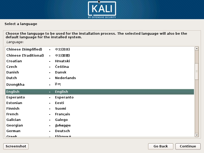Install Kali Linux 2019 - Select a Language Screenshot
