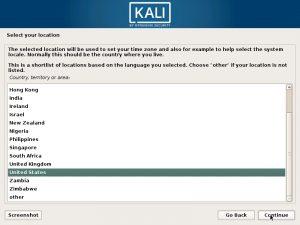 Install Kali Linux 2018 in VMware Workstation 14 - Select Location Screenshot