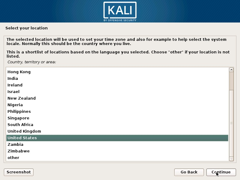 Install Kali Linux 2018 in VMware Workstation 14- Select Location Screenshot