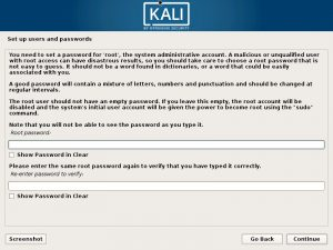 Install Kali Linux 2017 in VMware Workstation 12- Set up Users and Password Screenshot