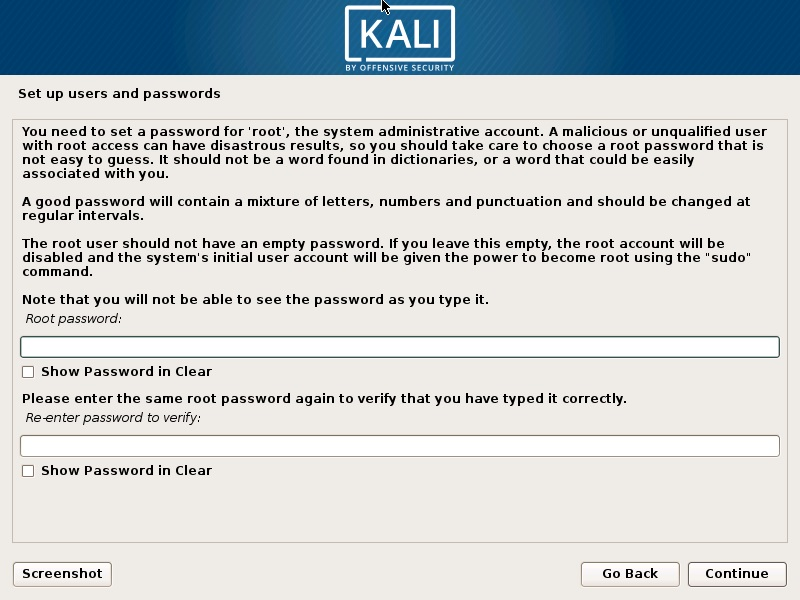 Install Kali Linux 2018 in VMware Workstation 14- Set up Users and Password Screenshot