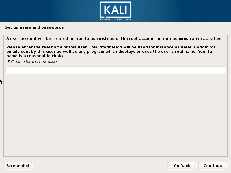 Kali Linux Installation - setup user