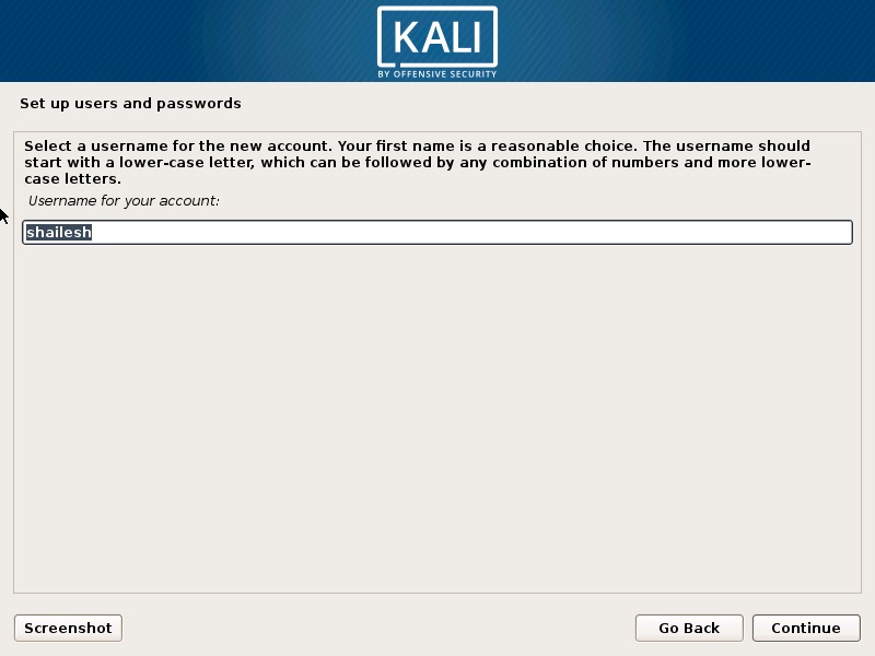 Kali Linux installation - setup user account