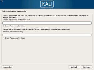 Kali Linux Installation - setup user password