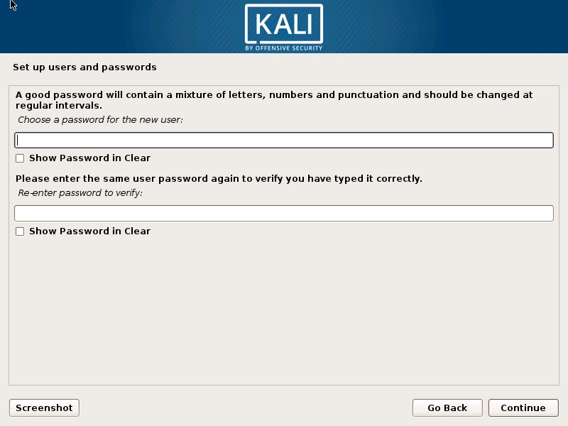Kali Linux Installation - setup user password