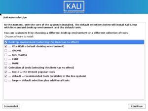Kali Linux 2020 installation - Software selection