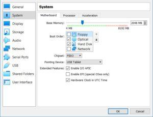 VirtualBox - VM Motherboard Settings