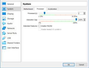 VirtualBox - VM Processor Settings