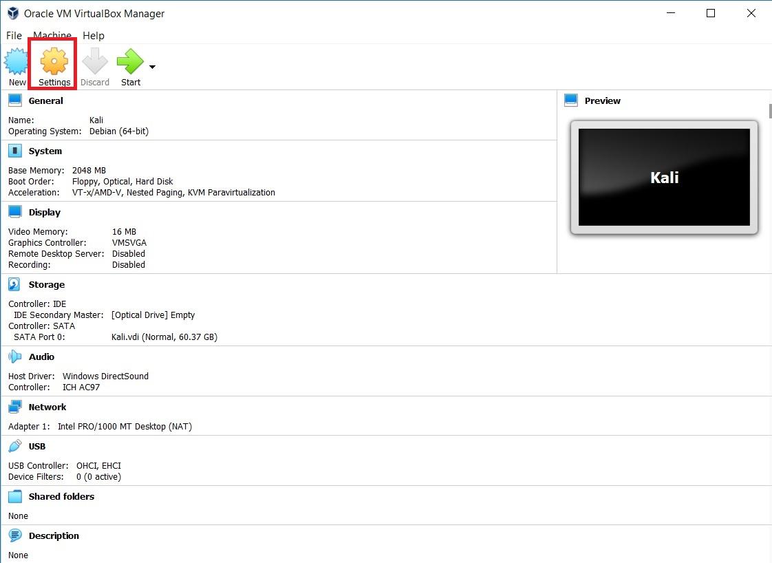 VirtualBox Manager - VM Settings