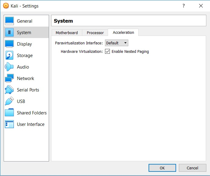 VirtualBox - VM system acceleration settings
