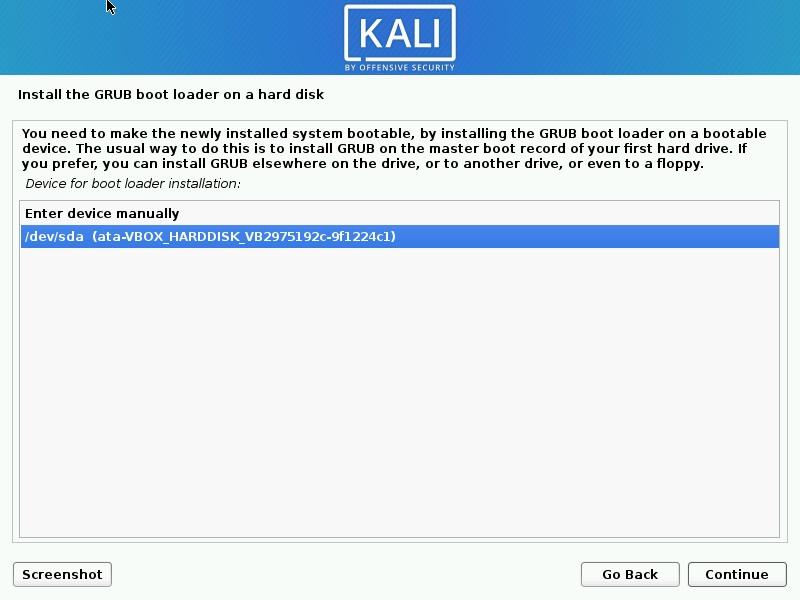 Select GRUB Boot Loader Device