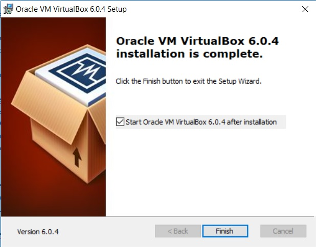 VirtualBox Installation completion dialog box screenshot