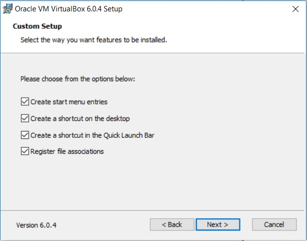 VirtualBox Installation - Custom Setup - Select feature to Install Dialog box screenshot