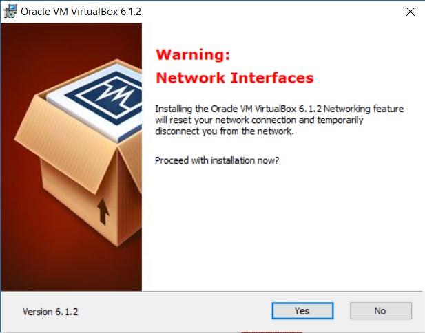 VirtualBox Installation – Network Interface warning dialog box screenshot
