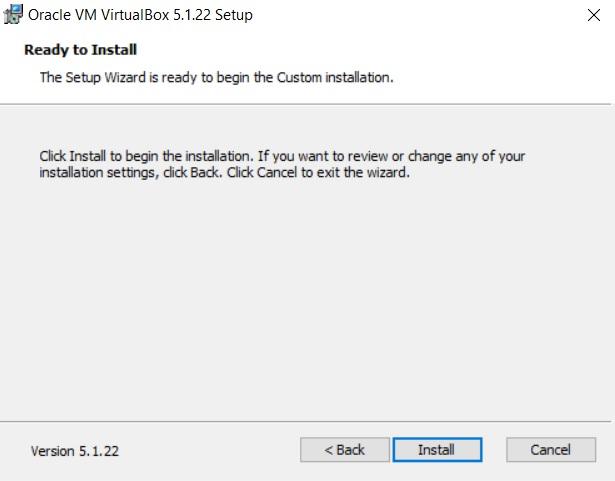 VirtualBox Installation Ready to Install dialog box screenshot