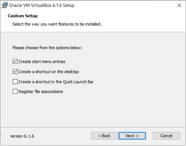 VirtualBox Installation – Custom Setup – Select feature to Install