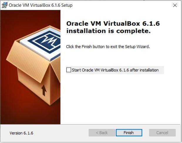VirtualBox Installation complete