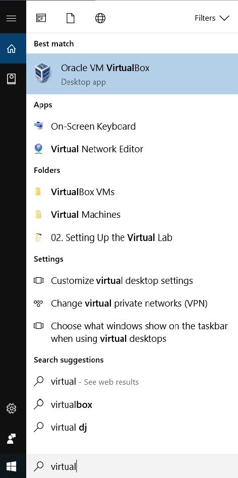 VirtualBox Windows start menu search screenshot