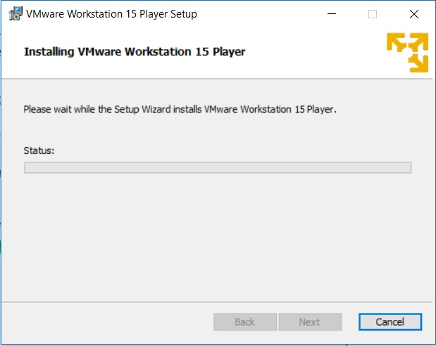 VMware Player 15 Installation - Installation in Progress