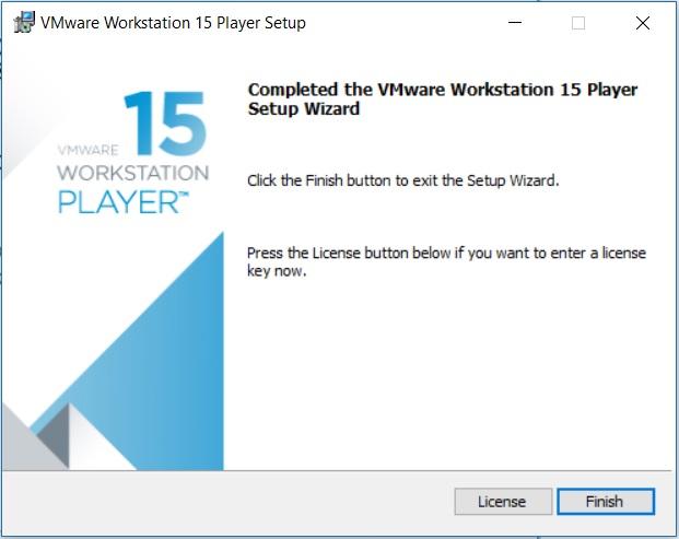 VMware Player 15 Installation - Installation Complete