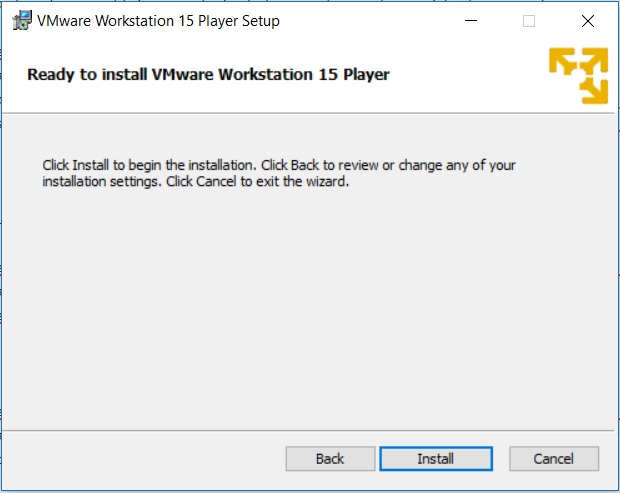 VMware Player 15 Installation - Ready to Install