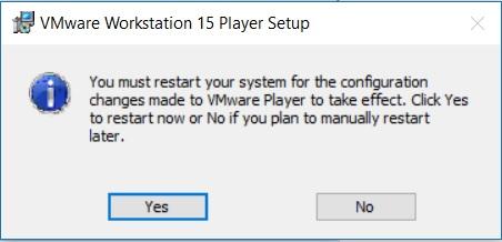 VMware Player 15 Installation - Reboot Required