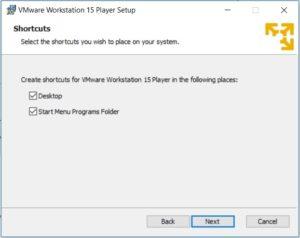 VMware Player 15 Installation - Shortcuts