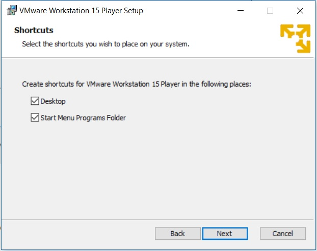 VMware Player 15 Installation - Shortcuts
