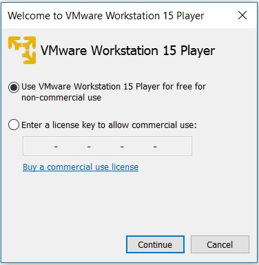VMware Player 15 Installation - License