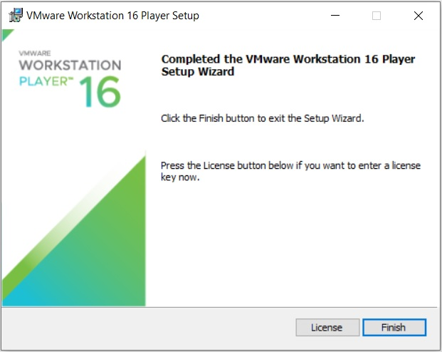 VMware Player 16 Installation - Installation Complete