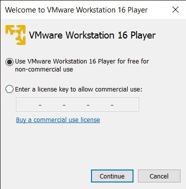 VMware Player 16 Installation - License