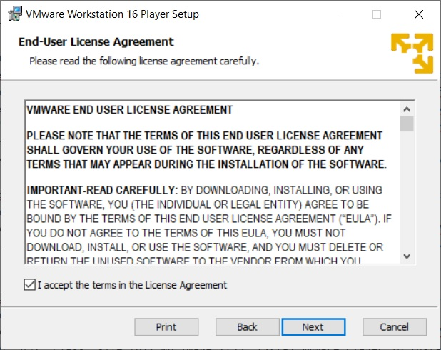 VMware Player 16 Installation - End User Agreement