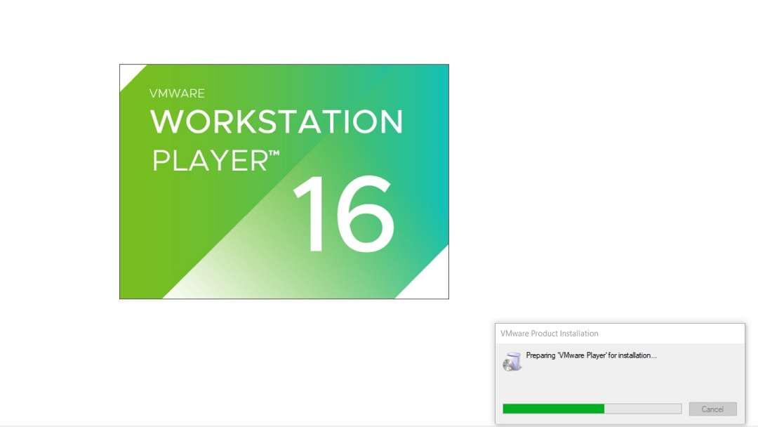VMware Player 16 Installation - Initial Splash Screen