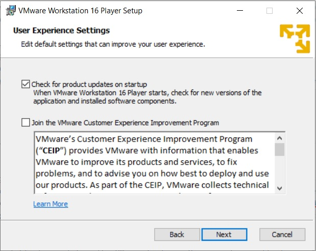 VMware Player 16 Installation - User Experience Settings