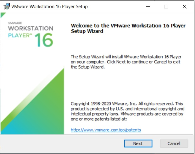 VMware Player 16 Installation – Setup Wizard