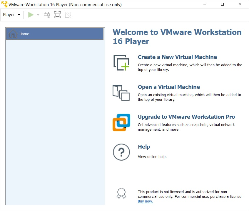 VMware Player 16 - Home Screen