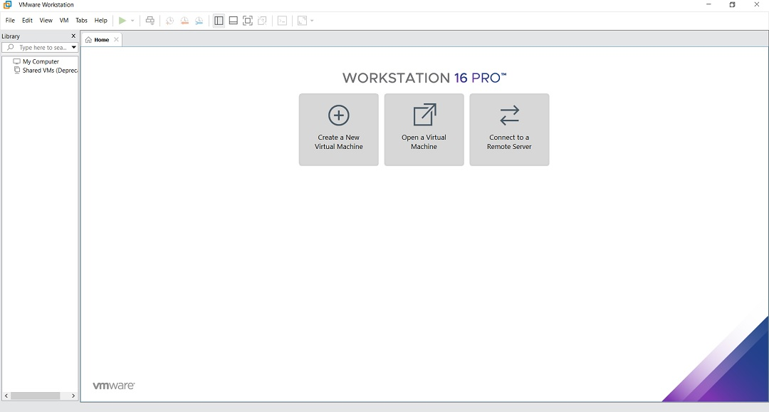 VMware Workstation 16 Pro Home Screen