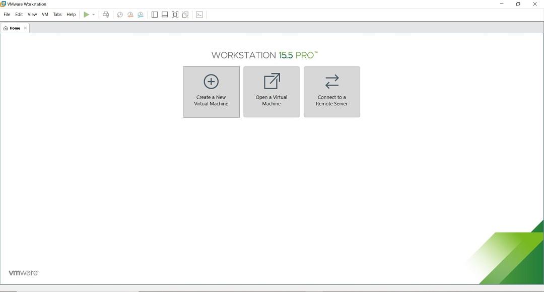 VMware Workstation 15.5 Pro Home Screen
