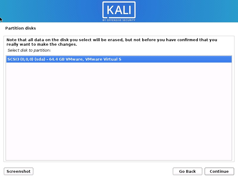 Install Kali Linux 2020 – Select Disk to Partition Screenshot