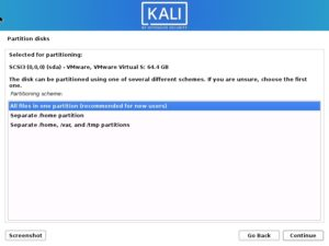 Install Kali Linux 2021 – Disk Partitioning Scheme Screenshot
