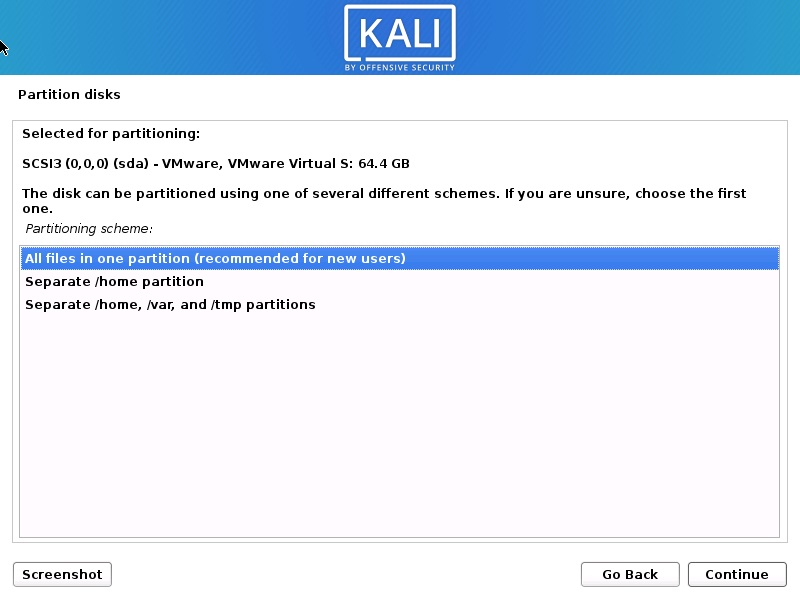 Install Kali Linux 2020 – Disk Partitioning Scheme Screenshot
