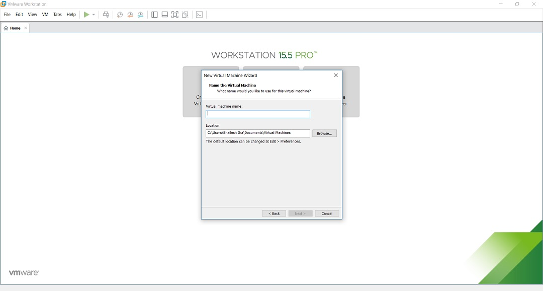 VMware Workstation - Install New Virtual Machine - Virtual machine name