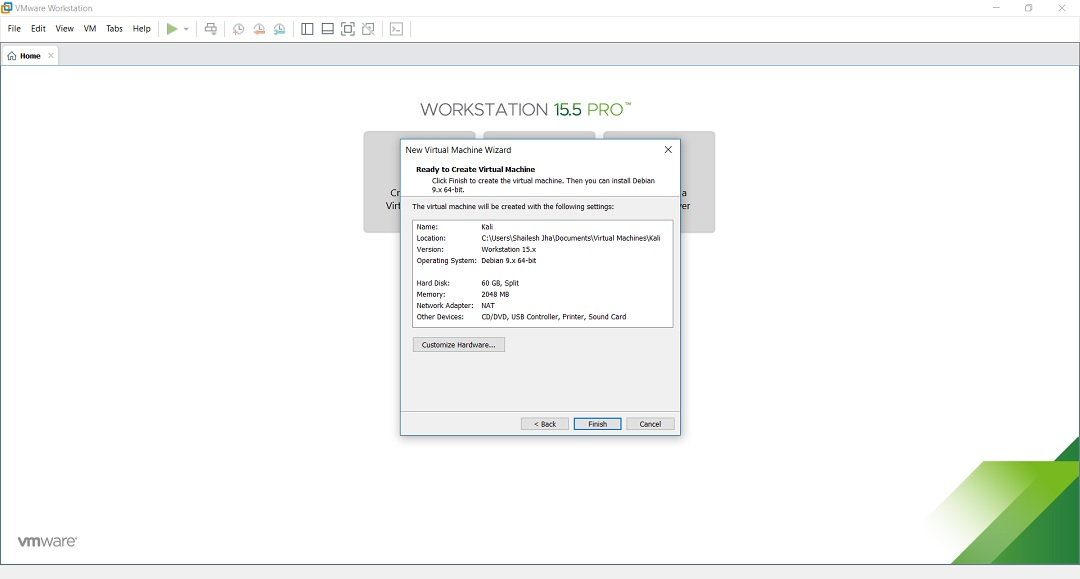 VMware Workstation - Create new virtual machine - ready to create virtual machine