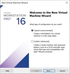 VMware workstation – create a new virtual machine wizard