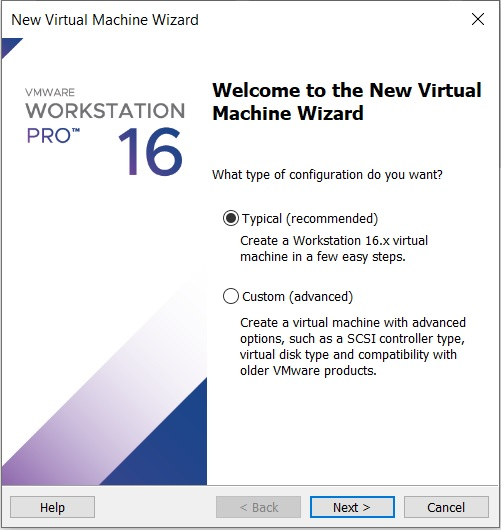 VMware workstation – create a new virtual machine wizard