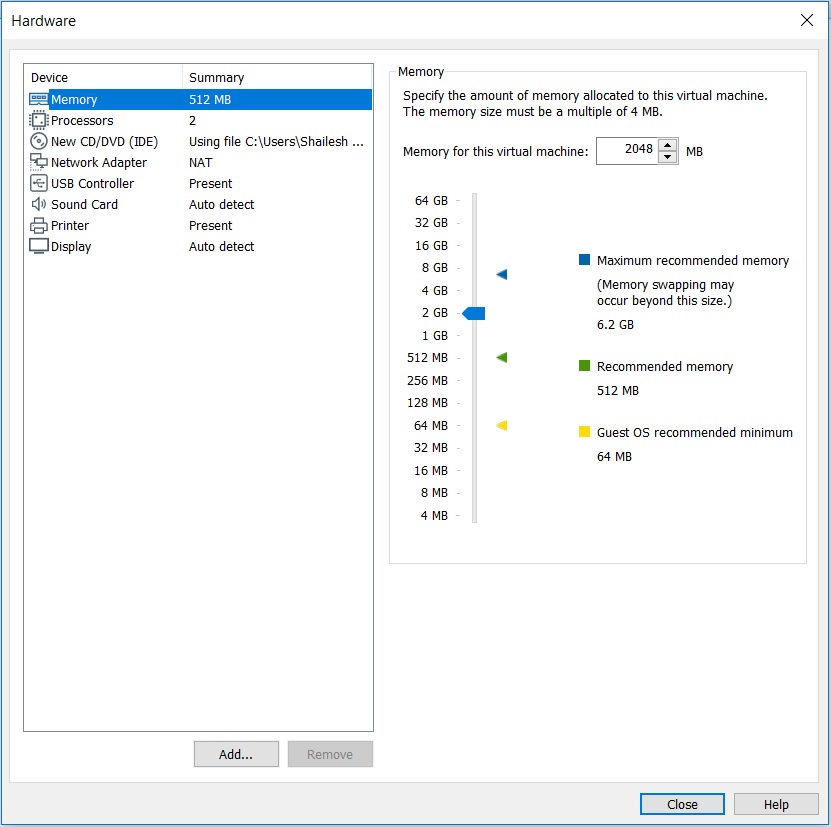 VMware Workstation - Virtual machine hardware settings - memory