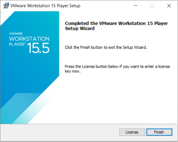 VMware Player 15.5 Installation - Installation Complete