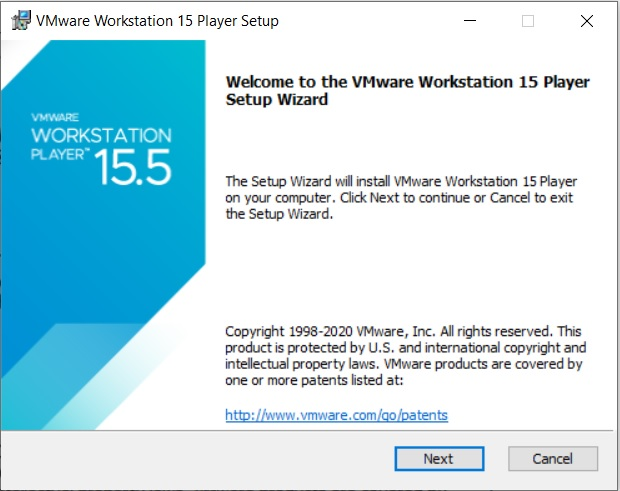 VMware Player 15.5 Installation - Setup Wizard