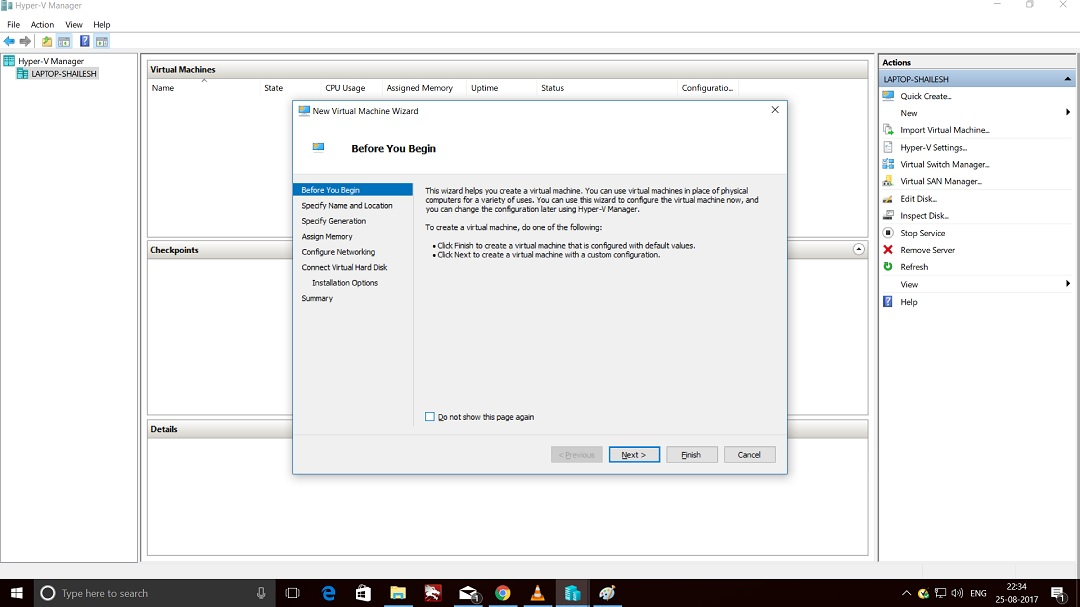 Hyper-V Manager - New Virtual Machine Wizard Screenshot