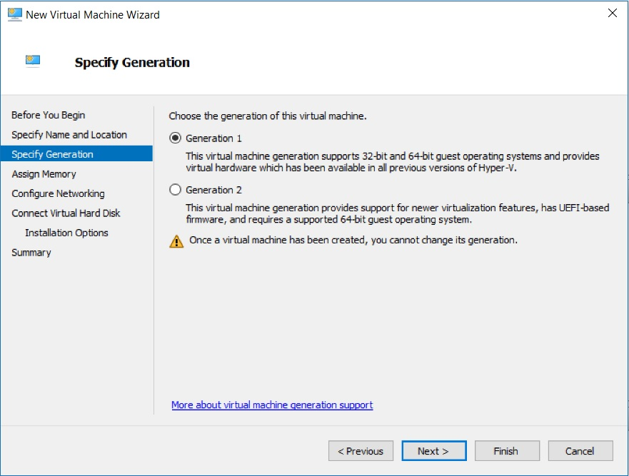 Hyper-V Manager - New Virtual Machine Wizard - Specify Generation dialog box Screenshot